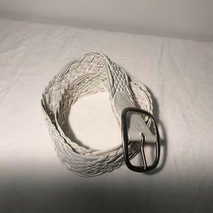 New White Leather Woven Belt Size Medium